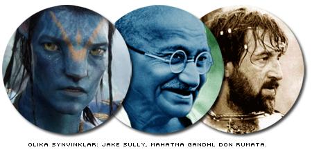 Bilder från Avatar, på Mahatma Gandhi och från den ryska filmatiseringen av 'Svårt att vara Gud'