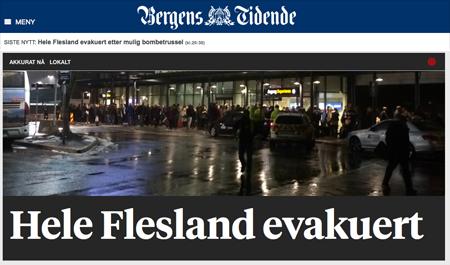 Bergens Tidenes förstasida om att flygplatsen evakuerats pgs bombhot