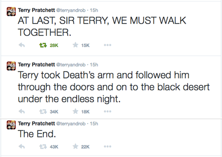 Terry Pratchett's last tweets