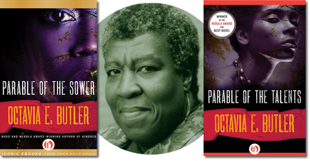 octavia butler with her two books about earthseed