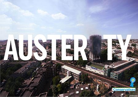 Bild: i ordet Austerity har i:et byyts ut mot det utbrända Grenfell Tower