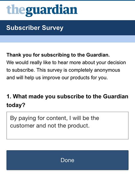 guardian frågar om skäl att prenumerera