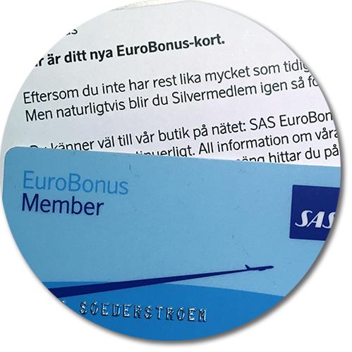 brev från SAS med nytt Eurobonus-kort