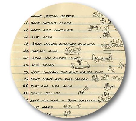 woody Guthries handskrivna lista över nyårslöften