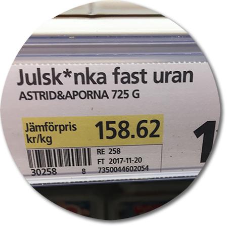etikett i frysdisk - julskinka fast uran