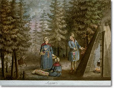 samer och kåta på 1800-talsplansch