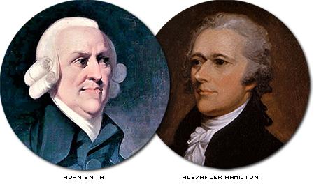 porträtt av adam smith och alexander hamilton