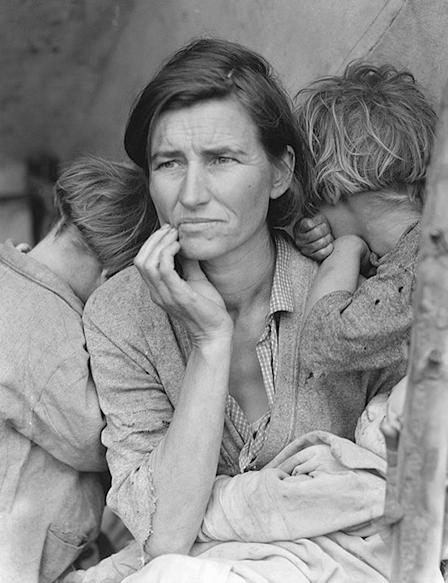 Langes porträtt av Florence  Owens Thompson, aka Migrant Mother