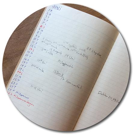 uppslag ur min bullet journal